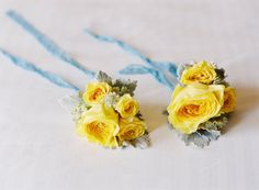 yellow corsages |  Photography by desibaytan.com |  Event Coordination by twineevents.com |  Floral + Event Design by oakandtheowl.com |   Read more - http://www.stylemepretty.com/2013/06/25/san-ysidro-wedding-from-desi-baytan-photography-twine-events/