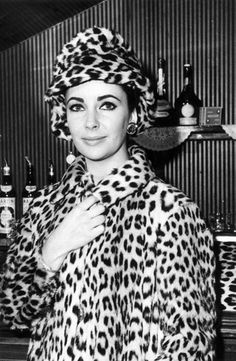 Elizabeth Taylor in leopard hat and coat