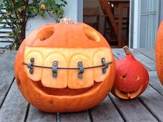 Pumpkin with Giant Teeth & Braces dentist, funny pics, braces, funny pictures, funny humor, halloween pumpkins, jack o lanterns, pumpkin carvings, happy halloween