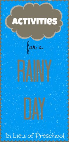 Here's a collection of rainy day activities for kids.  What does your family like to do on a rainy day?