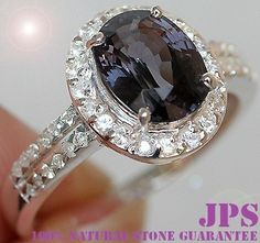 RARE 100% NATURL 3.0 cts PURPLE TITANIUM SPINEL & WHITE SAPPHIRE RING 925SS S#7  RETAIL PRICE WORTH OVER $750.00 + GEM REPORT