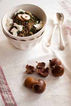 Scandi Home: Roasted chestnuts with lentils and goat cheese