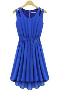 Blue Sleeveless Hollow Shoulder Pleated Dress - Sheinside.com