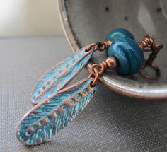 Copper Earrings Glas