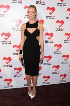 Gwenyth Paltrow, NYC, in Michael Kors black double-face stretch wool crepe harness cut-out dress. #Spring2013 #GodsLoveWeDeliver #GoldenHeart