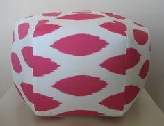 Ottoman Pouf  Candy Pink White Ikat
