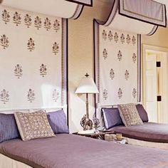 interior, headboard, block prints, canopy beds, twin beds, bed canopies, guest rooms, purple bedrooms, girl rooms