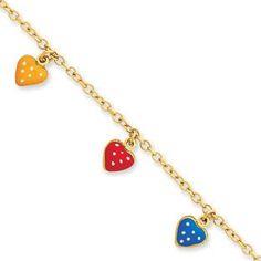 Children's Adjustable 14K Gold Colorful Heart Charm Bracelet Available Exclusively at Gemologica.com