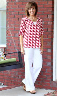 Summer Fashion-Red and White Chevron