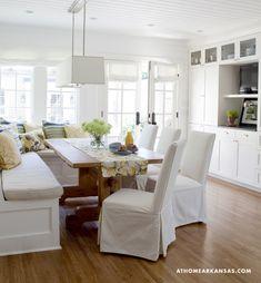 interior design, dining rooms, dine room, kitchen tables, breakfast nooks, kitchen nook, banquette seating, arkansa, white kitchens