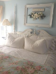 Shabby chic bedroom - I love the frame idea