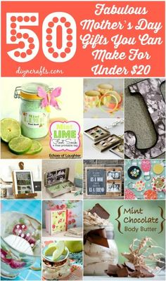 50 Fabulous Mother's Day Gifts you can make for under $20!! @Lisa Phillips-Barton & Vanessa @Vanessa Beaty @diyncrafts #DIY #MomsDay