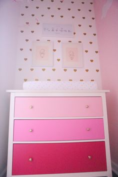 Pink Ombre Dresser and Gold Heart Decal Accent Wall - such a pretty in pink nursery!