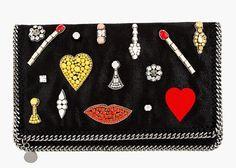 Black Jewel Embellished Foldover Clutch, Stella McCartney