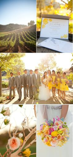 gray and yellow wedding color palette