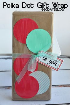 DIY Polka Dot Gift Wrap by @Mique Provost  30daysblog !  A fun and clever way to dress up your gifts!!