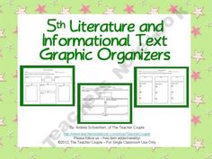 5th Grade Common Core Reading Graphic Organizers product from TheTeacherCouple on