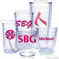 Personalized Pink Ribbon Tervis Tumblers