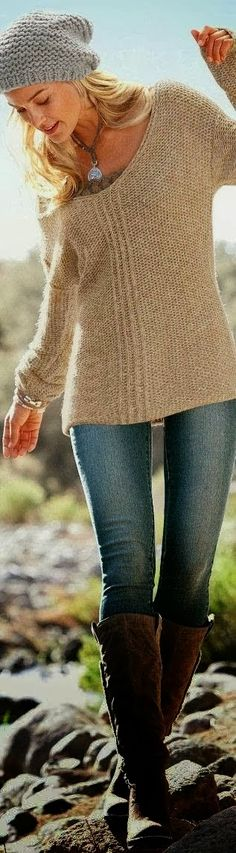 Adorable Brown Handmade Sweater, Suitable Jeans and Long Boots