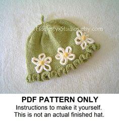 PDF KNITTING PATTERN - Baby Girl Hat Knitting Pattern - Daisy Cloche (Newborn Infant Toddler Child sizes) Children Spring Knitting Pattern. $5.50, via Etsy.
