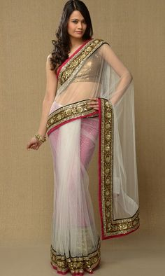 White net saree with red petticoat