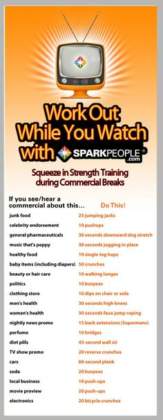This is surprisingly fun--and challenging! You'll never watch TV the same way again! The Commercial Break  #Workout | via @SparkPeople
