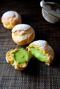 Green Tea Cream Puffs.  Notes: 3 sheets of gelatin?  Watch carefully when thickening the cream because it becomes solid and chunky very quickly.  Mom says the cream is too sweet - cut sugar by 1/4 next time?