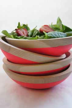 "Wooden Salad Bowl, 7"" Neon PINK via Etsy."