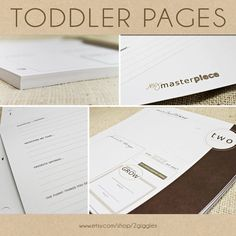 Toddler Keepsake Pages - includes 12 months to 5 years (56 designed journaling pages to add to any of our baby albums). $30.00, via Etsy.