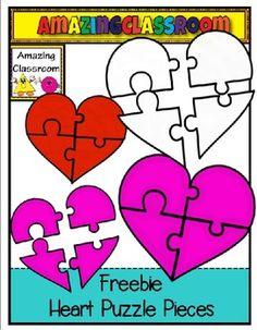 Free Heart Puzzle Pieces Clip Art Set
