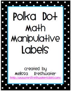 Math Manipulative Labels  (Classroom Freebies Too: New Bin Labels)