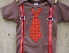 Red Necktie with Suspenders Onesie