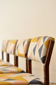 Rosewood dining chair with Tamasyn Gambell print frame original 60's Pastoe