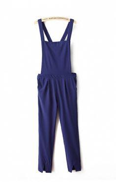 Fashion Royalblue Suspender Jumpsuit - 6ks.com