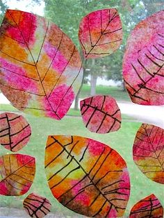 leaf craft(coffee filters, markers & water..easy peasy!)