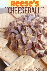 Six Sisters Reese's Peanut Butter Cheese Ball is perfect for a party or movie night!! Great for dipping graham crackers or vanilla wafers!
