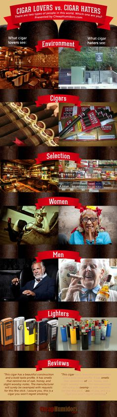 There are two types of people in this world: Cigar Lovers vs. Cigar Haters! Which one are you?  #cigars #cigarporn #funny #infographic #smoke