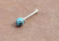 Turquoise Nose Stud 925 Sterling Silver Nose Ring by MidnightsMojo