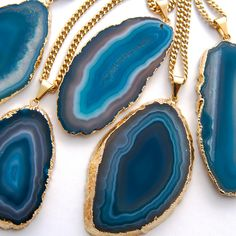 #Blue #Agate #Pendant #Necklace #Boho #Jewelry by #AtelierYumi // ♡'d by The Blonde Rapture via #Etsy