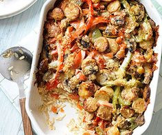 Sausage and Pepper Bake- easy to sub noodles or quinoa instead of rice
