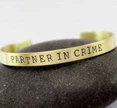 Partner in Crime Best Friend Bracelet 1/4 Hand by TatumBradleyCo, $21.50 gift, friend 33, friend bracelet