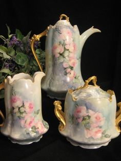 Romantic Pink Roses ~ Gorgeous Antique Porcelain Rosenthal Chocolate Set with Chocoliatiere Pot Creamer Sugar ~ Remarkable Hand Painted 3 Piece Set Victorian Era Heirloom Artist Signed Circa 1900