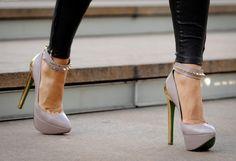 grey + gold heels