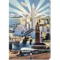 Retro Travel 'Modern Deco Empire' Stretched Canvas Art   Overstock.com