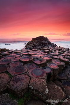 Sunset at Giant's Causeway, north Antrim coast, Northern Ireland