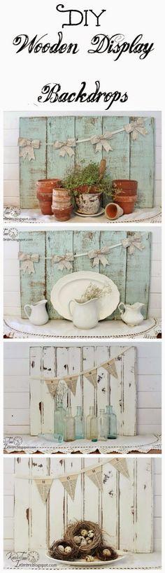 Create your own beautiful Display Backdrops!  ~~via knickoftimeinteriors.blogspot.com