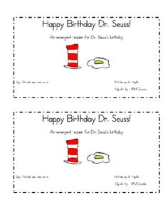Here is a great emergent reader for Dr. Seuss's birthday! It is a great addition to your Dr. Seuss unit or for Read Across America week. It contain...