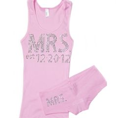 Personalized Mrs Sleep Set with Wedding Date - a perfect Bachelorette Party or Bridal Shower Gift!  Just $32.99 at The House of Bachelorette!