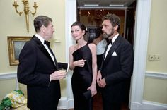 President Reagan talking with actress Audrey Hepburn and Robert Wolders at a private dinner for the Prince of Wales at the White House. May 2, 1981. Audrey Hepburn and Robert Wolders were partners from 1980 until Hepburn's death in 1993.