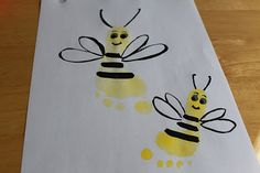 Precious footprint bees for an insect unit! Too cute! hand, craft, footprint art, mothers day, valentine day, father day, kitchen towels, bumble bees, kid